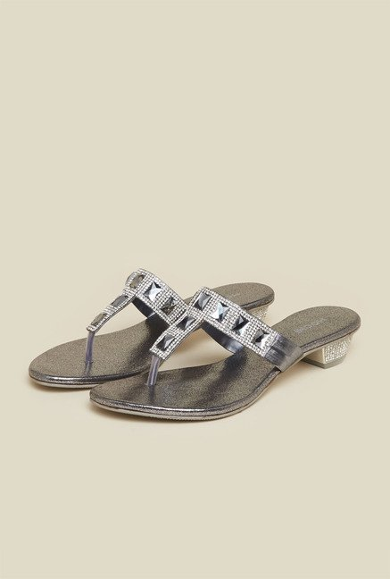 Mochi Gun Metal Crystal Flat Sandals