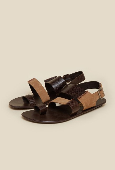 Mochi Brown & Tan Back Strap Leather Sandals