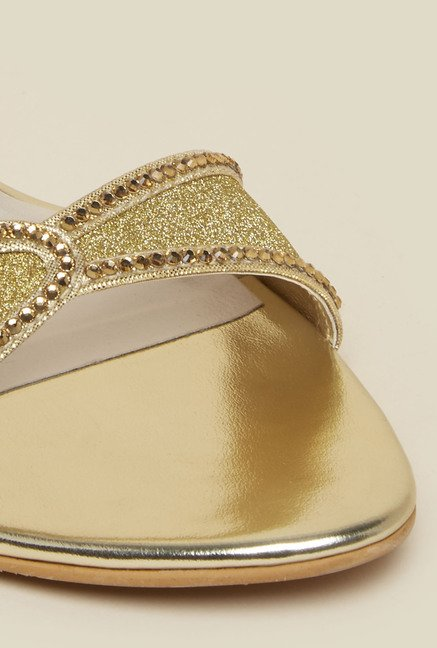 Mochi Gold Back Strap Stilettos