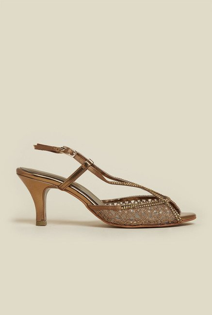 Mochi Antique Gold Back Strap Stilettos