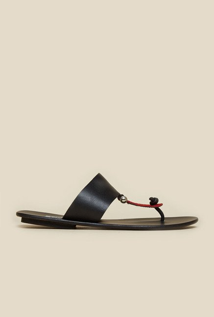Mochi Black & Red T-Strap Leather Sandals