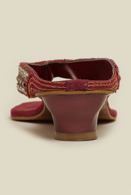 Mochi Maroon Ethnic Sandals