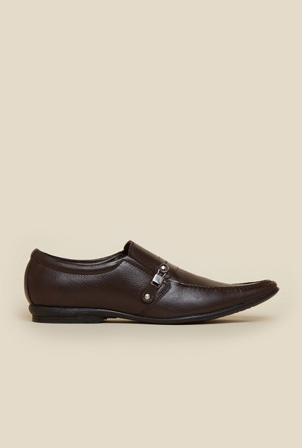 Mochi Brown Leather Slip-On Shoes