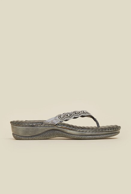 Mochi Gun Metal Leather Flat Thongs
