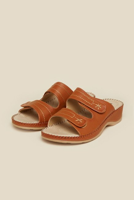 Mochi Tan Leather Mule Sandals