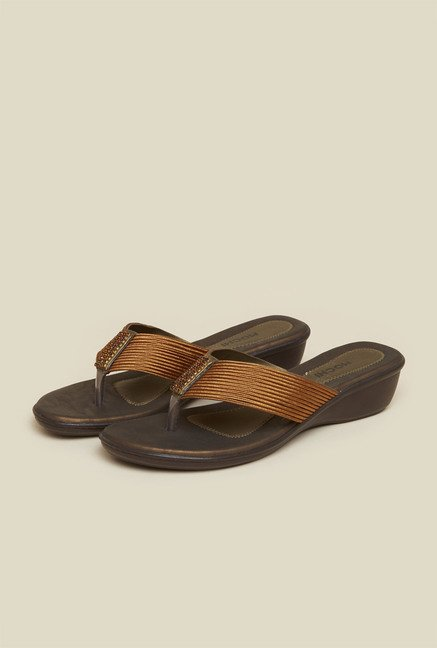 Mochi Bronze Wedge Heel Thongs