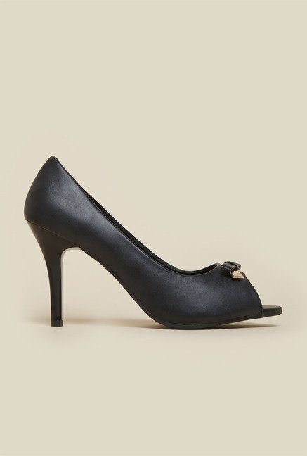 Mochi Black Peep Toe Stilettos