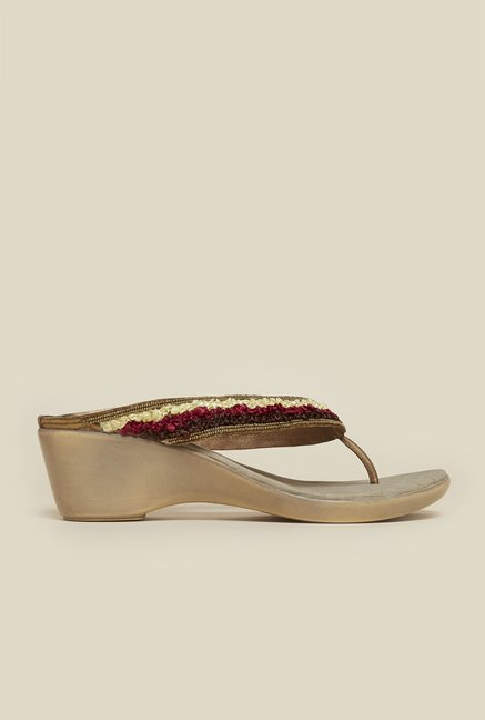 Mochi Copper Wedge Heel Thongs