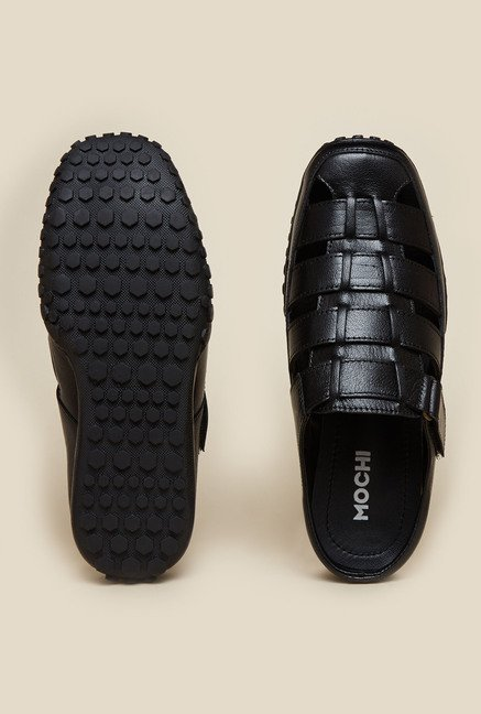 Mochi Black Leather Fisherman Sandals