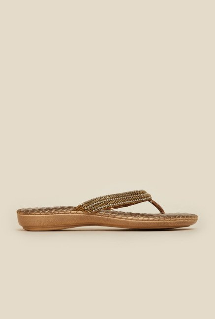 Mochi Antique Gold Leather Flat Thongs