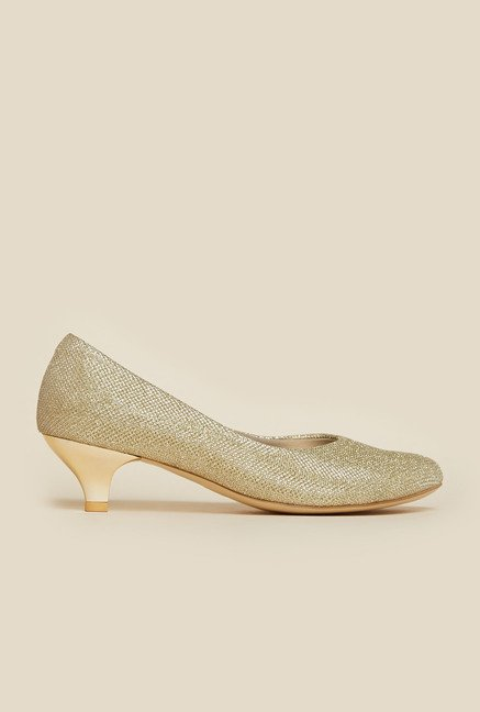 Mochi Gold Kitten Heel Shoes