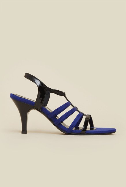 Mochi Black & Blue Stiletto Sandals