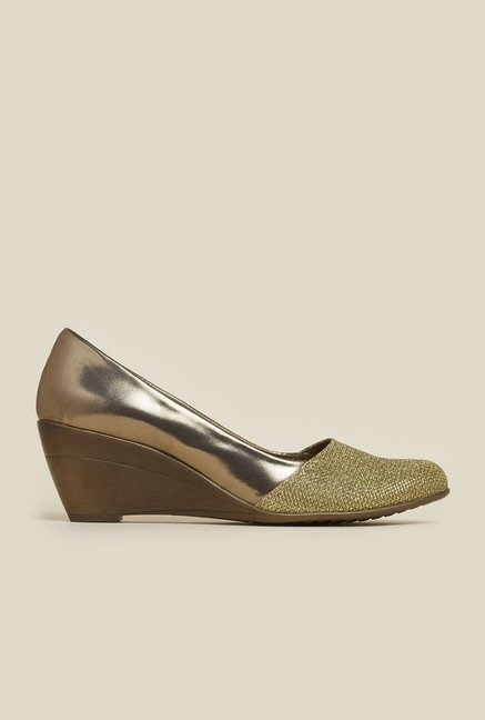 Mochi Antique Gold Wedge Shoes