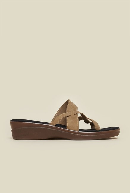 Mochi Beige Cross Strap Flat Sandals