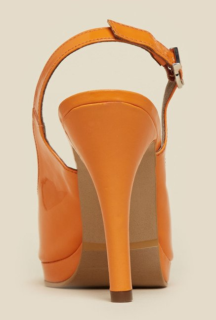 Mochi Orange Stiletto Sandals