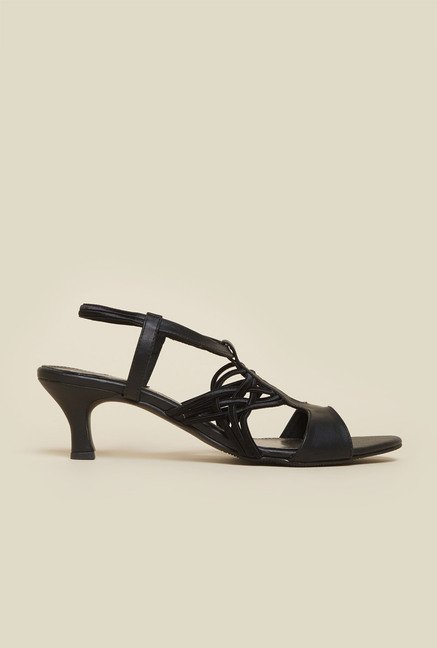 Mochi Black Kitten Heel Sandals