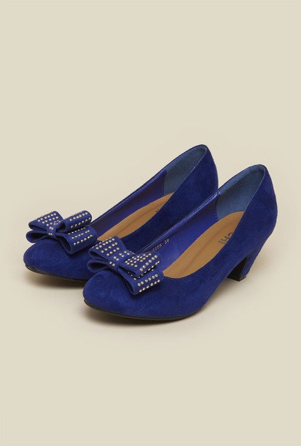 Mochi Blue Bow Casual Pumps