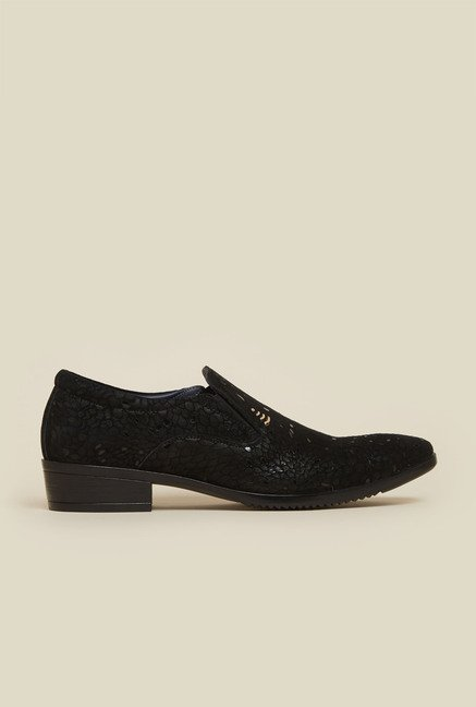 Mochi Black Leather Casual Slip-Ons