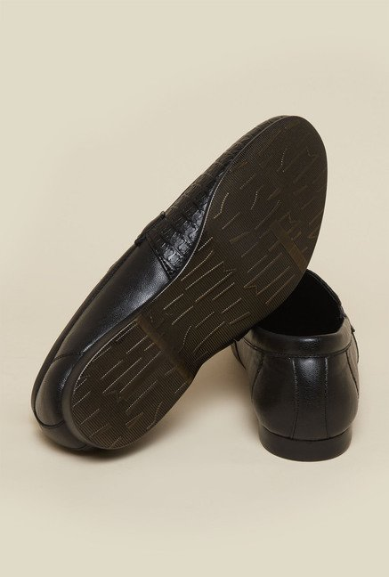 Mochi Black Leather Casual Moccasins