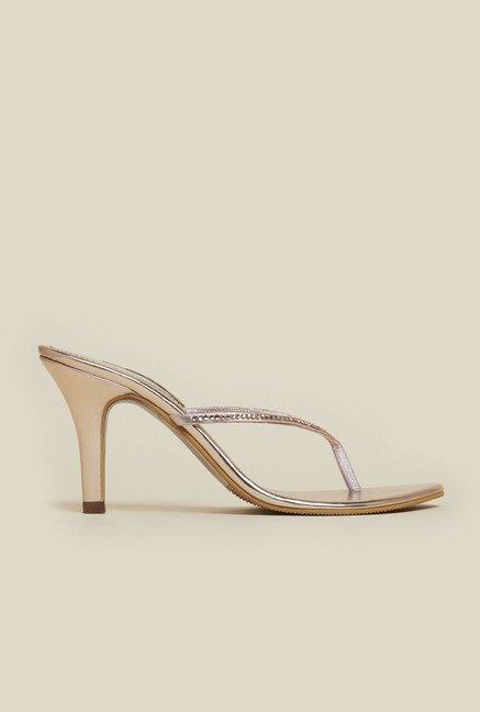 Mochi Gold Stiletto Casual Sandals