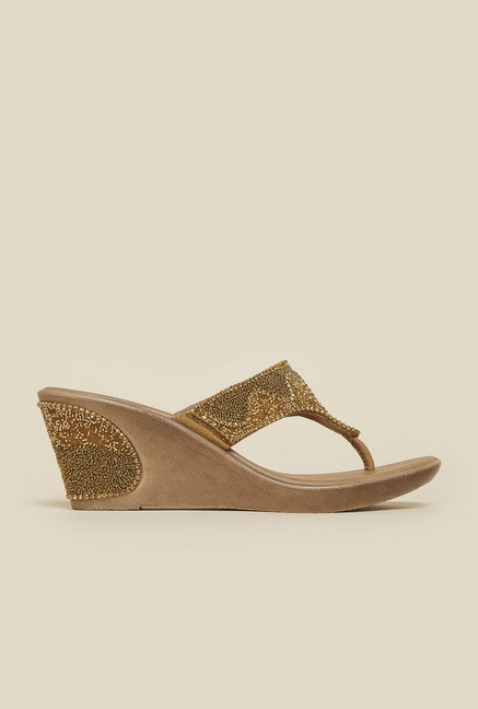 Mochi Antique Gold Ethnic Wedges
