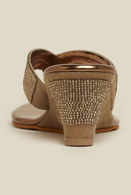 Mochi Antique Gold Thong Wedges