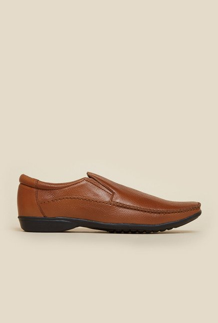Mochi Tan Leather Formal Slip-On Shoes