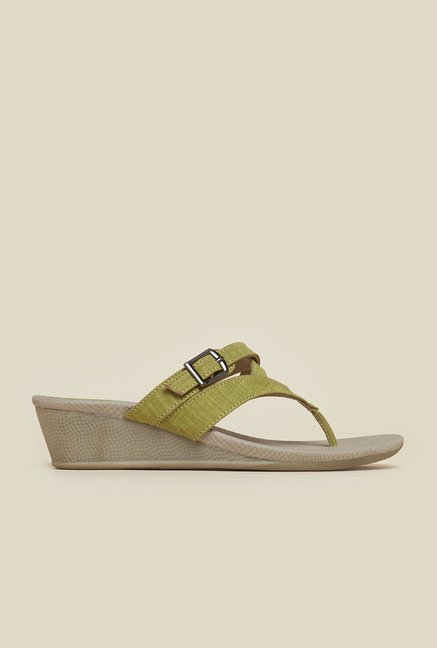 Mochi Green Wedge Heel Sandals