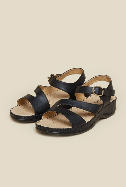 Mochi Black Leather Flat Sandals