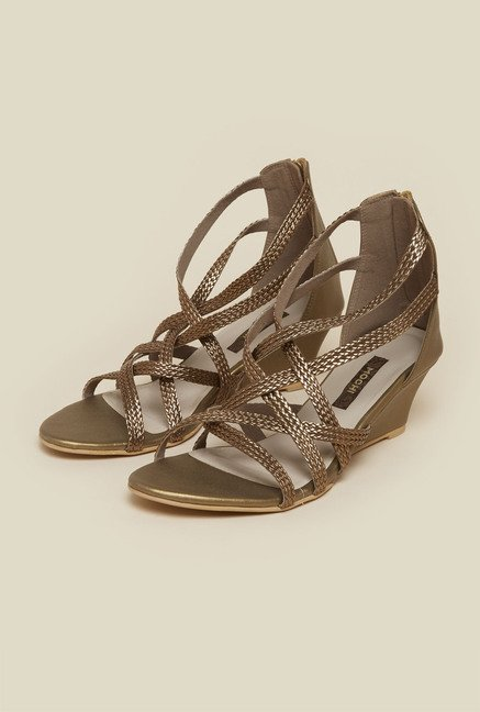 Mochi Antique Gold Cross Strap Sandals