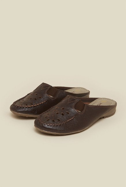 Mochi Brown Slide Flat Sandals