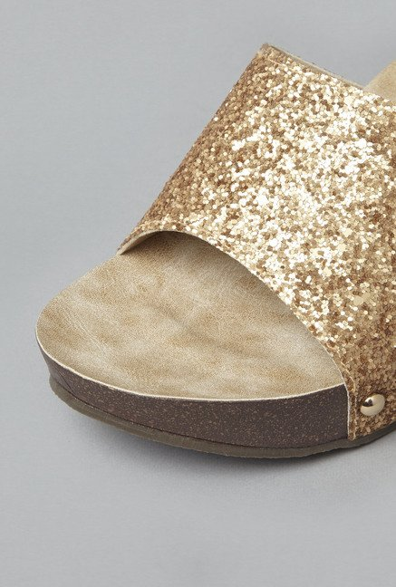 Head Over Heels Golden Slide Wedges