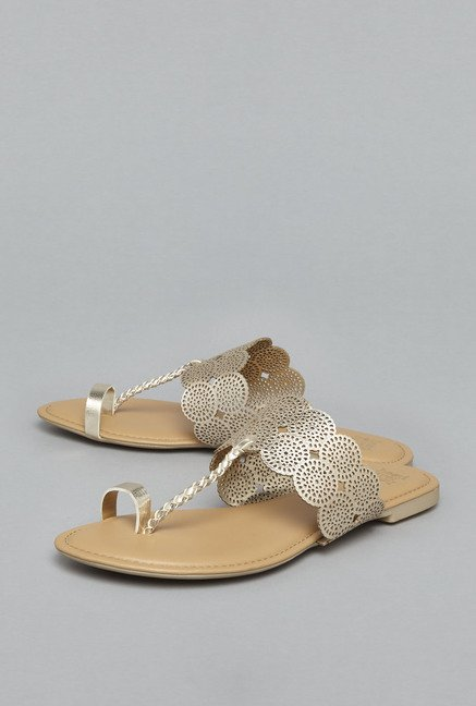 Head Over Heels Golden Leather Flat Sandals
