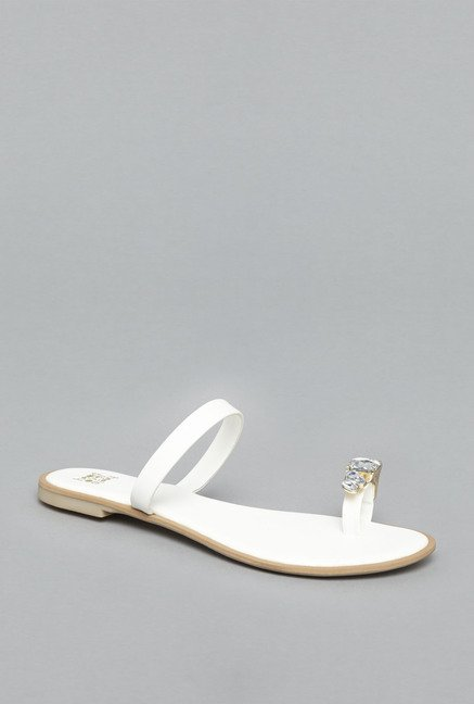 Head Over Heels White Leather Flat Sandals