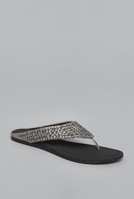 Head Over Heels Silver Thong Flat Sandals