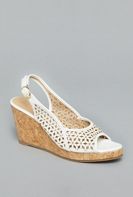 Head Over Heels White Back Strap Wedges