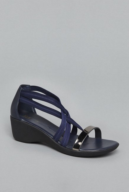 Head Over Heels Navy Sling Back Wedges