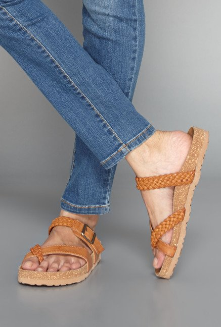 Head Over Heels Tan Flat Sandals