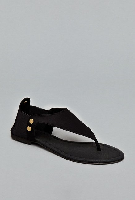 Head Over Heels Black Thong Sandals