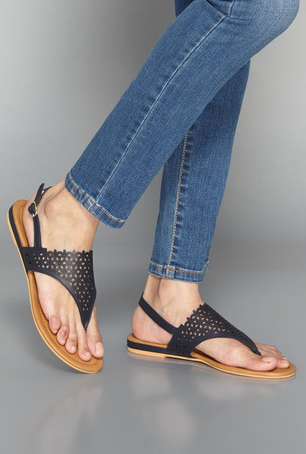 Head Over Heels Navy Thong Sandals