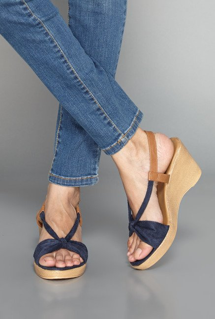 Head Over Heels Navy Leather Wedges