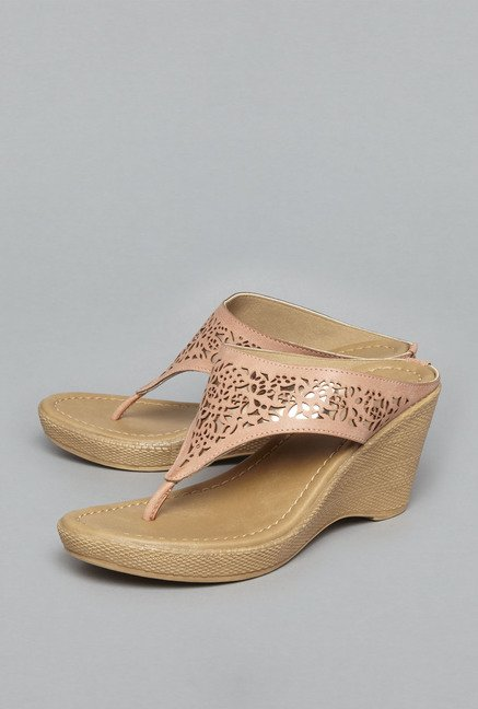 Head Over Heels Pink Thong Wedges