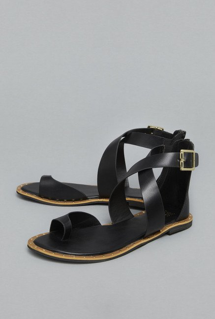 Head Over Heels Black Cross Strap Sandals