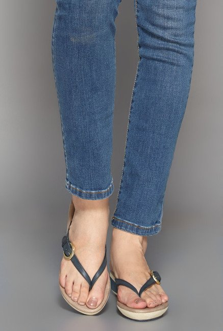 Head Over Heels Navy Thong Wedges