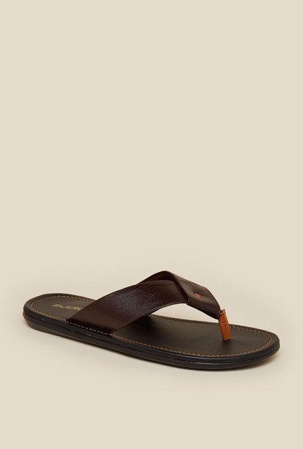 Zudio Brown Leather Thong Flip Flops