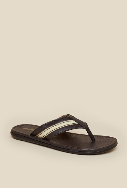 Zudio Dark Brown Leather Thong Flip Flops