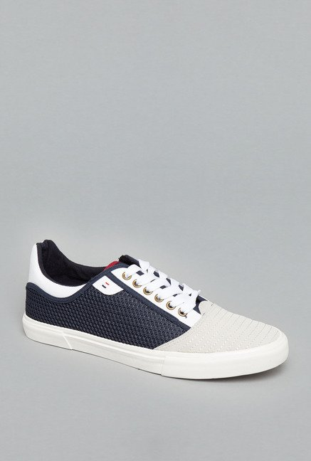 Nuon White & Navy Lace Up Sneakers