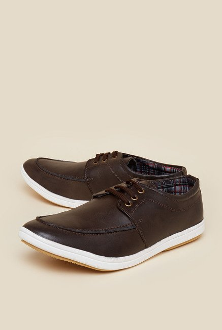 Zudio Brown Lace Up Sneakers