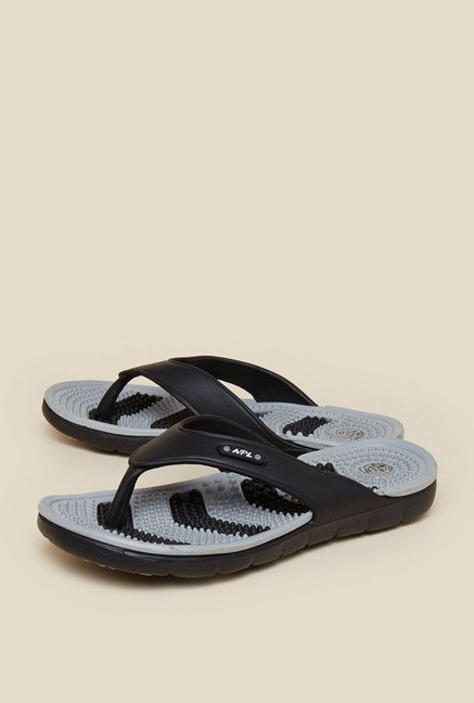 Zudio Black & Grey Thong Flip Flops