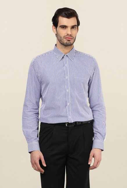 Turtle Blue & White Striped Formal Shirt